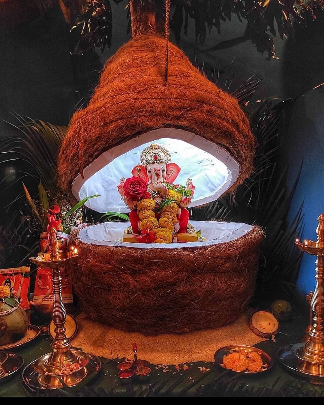 Beautifull Night Lord Ganpati Decoration Photo Wallpaper for Mobile