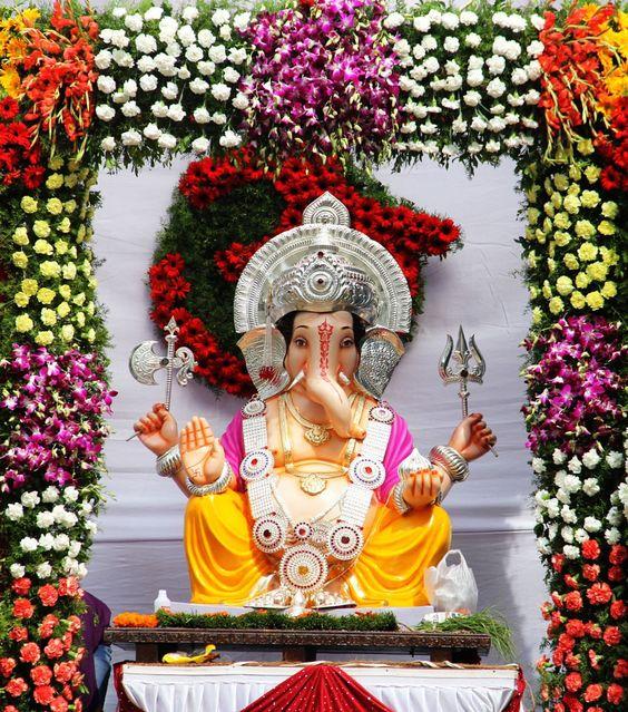 Ganpati Decoration Background Design Photo