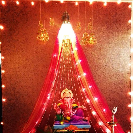 Ganpati Decoration at Home Photo Free Download