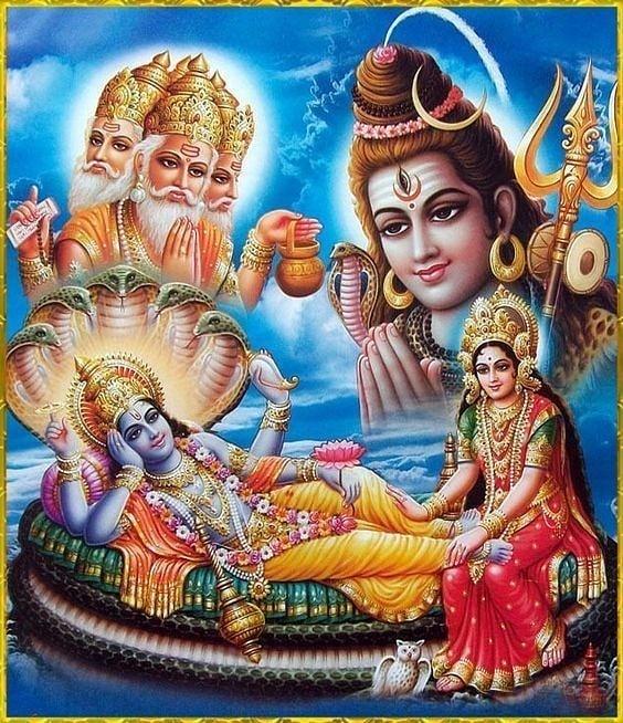 Laxmi Narayan God Image with Lord Shiva and Brahma Download
