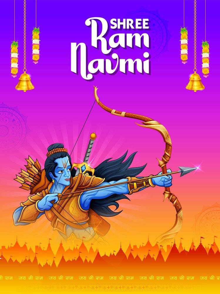 Shree Ram Navami celebration background for religious holiday of India